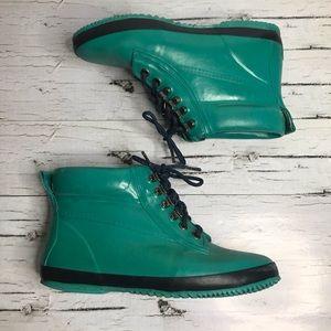 Eddie Bauer Vintage Teal Lace Up Chukka Rain Boot